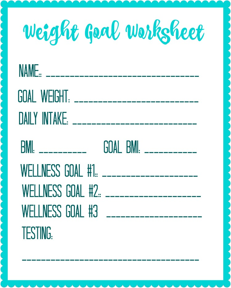 free printable weight loss goal worksheet